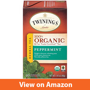 Twinings of London Organic and Fair Trade Certified Peppermint Herbal Tea individual tea bags, 20 Count