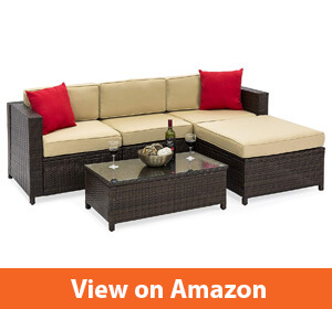 Best Choice Products 5-Piece Wicker Patio Sectional Set- The People's Home Table